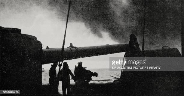 On the deck of an Italian vessel at sea World War I from L'Illustrazione Italiana Year XLIV No 30 July 29 1917