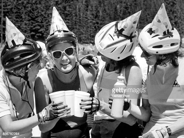 On The Denver Bike Tour It was party time with hats etc for Caryl Thornton who was 34 on Wed on the ride from Leadville to Frisco L to r Robin Abeles...