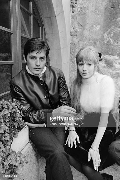 On the det of the movie The Girl on a Motocycle in Germany in September 1967French actor Alain Delon with British actress Marianne Faithfull on the...