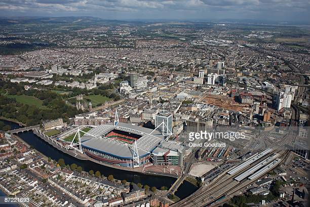 On the East Bank of the River Taff is the Millenium Stadium and Cardiff city centre Wales on October 31 2008