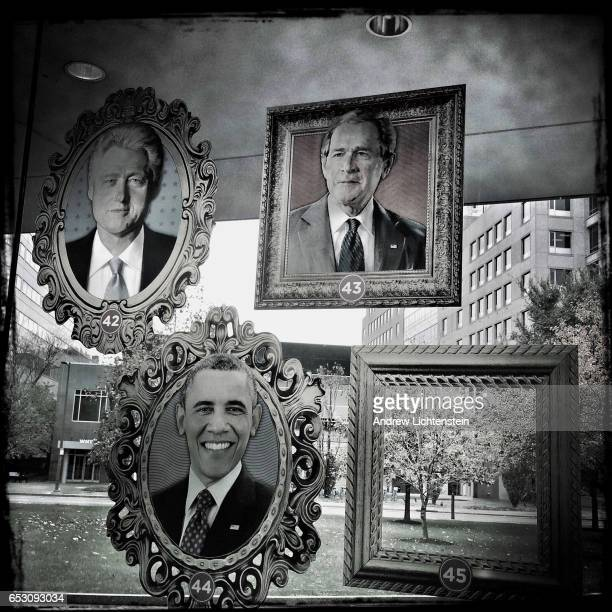 On the eve of the 2016 presidential elections a poster left blank for the 45th president hangs in the window of the National Constitution Center...