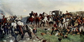 'On the evening of the Battle of Waterloo' from painting by Ernest Crofts Battle between French army under the command of Emperor Napoleon and armies...