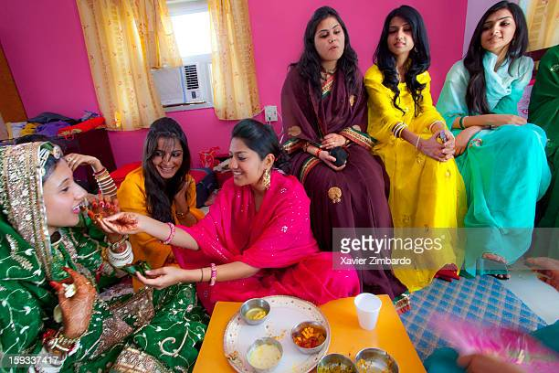 On the first morning after the marriage ceremony friends and relatives of the bride giving her Kaleva special breakfast on February 19 2011 in Barmer...