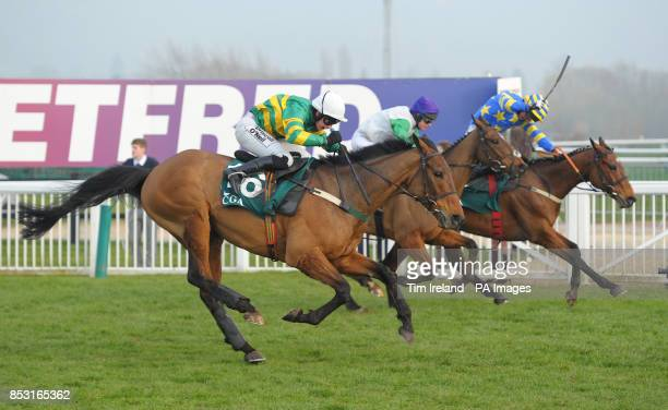 On The Fringe with jockey Nina Carberry winner Tammys Hill and jockey Mr J Smyth and Carsonstown Boy with jockey Mr N McParlan in the CGA Foxhunter...