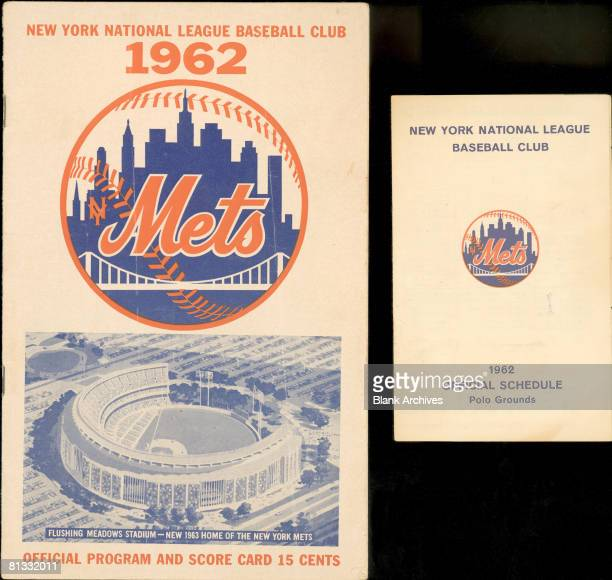 On the left a New York Mets baseball team official program and scorecard on the right the official schedule from the 1962 season The program features...