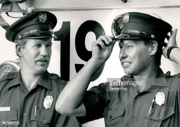 On the left is Jerry Dunn in is wearing the old or present hat on the right is Bob Mares as he is known at station at Alameda and Ivy The Duke is...