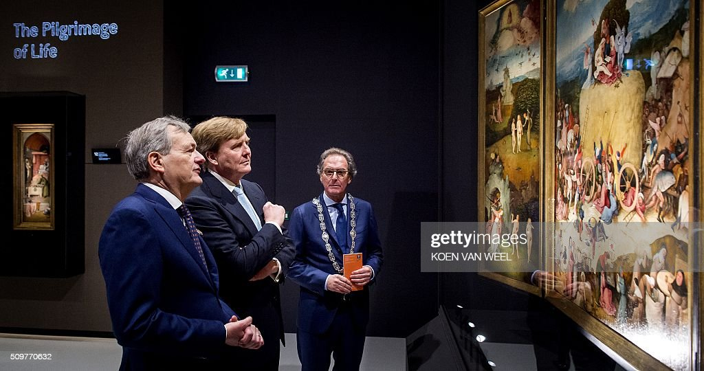 Dutch King Willem-Alexander and Mayor Ton Rombouts of Den Bosch (R) attend the opening of the exhibition 'Hieronymus Bosch - Visions of a Genius' at the Noordbrabants Museum in Den Bosch, on February 12, 2016. The exhibition with the work of Dutch Renaissance artist Jheronimus Bosch (or Hieronymus, or Jeroen Bosch) runs from February 13 - May 8. On the left mayor Ton Rombouts of Den Bosch. / AFP / ANP / Koen van Weel / RESTRICTED TO EDITORIAL USE - MANDATORY MENTION OF THE ARTIST UPON PUBLICATION - TO ILLUSTRATE THE EVENT AS SPECIFIED IN THE CAPTION
