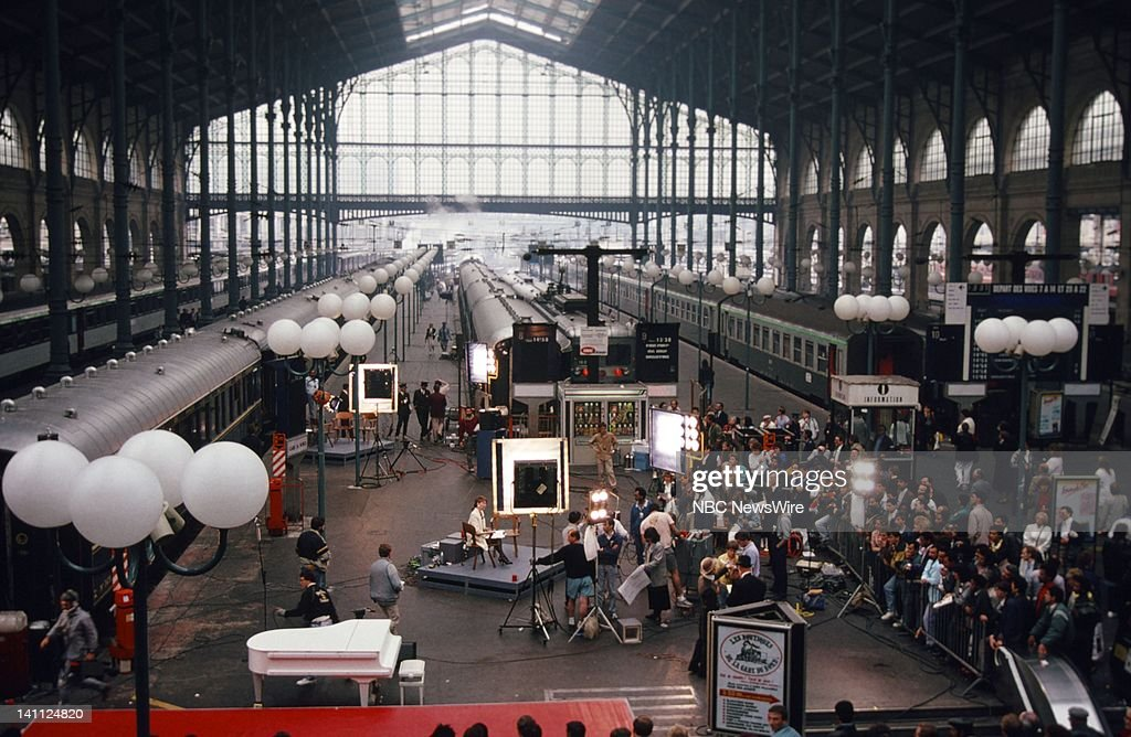 TODAY 'TODAY on the Orient Express 1988' Pictured NBC News' Jane Pauley and crew at the Gare du Nord train station in Paris France in on May 9 1988...