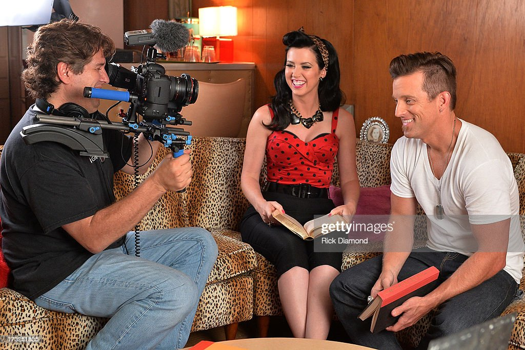 On the set with ACM 'Duo of the Year' Thompson Square who are L/R Shawna Thompson and Keifer Thompson as they tape their upcoming video 'Everything...