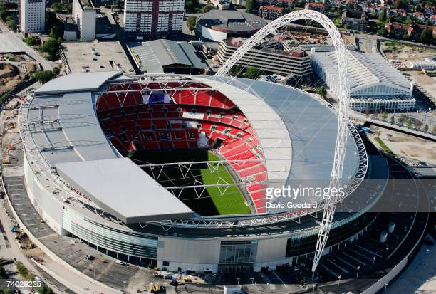 On the site of the old Empire Stadium the new national stadium 'Wembley' nears final completion this aerial photo taken on 4th October 2006