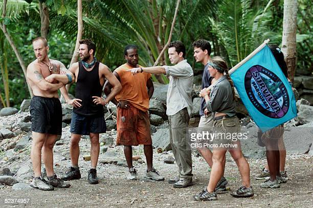 On the sixth episode of the tv reality show 'Survivor Marquesas' the members of the Rotu tribe get instruction from Jeff Probst before the Reward...