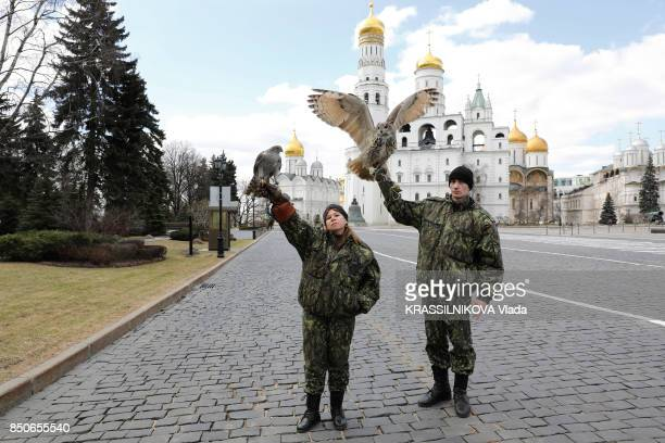 on the square of the Cathedrals raptors protect the gold of Holy Russia are photographed for Paris Match on april 21 2017 in Moscow Russian Federation