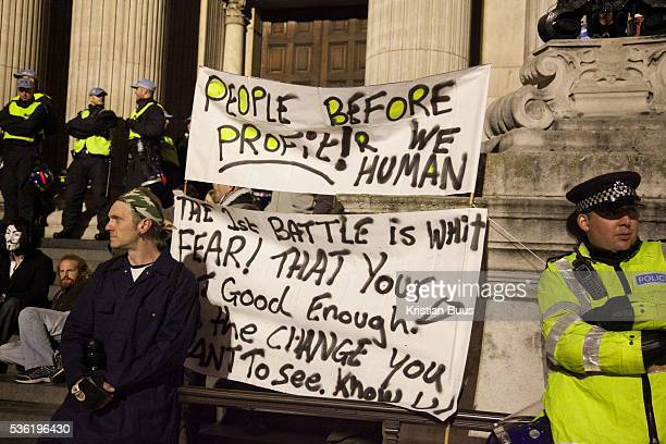 On the steps of St Paul's Cathedral The London Stock Exchange was attempted occypied in solidarity with Occupy Wall in Street in New York and in...