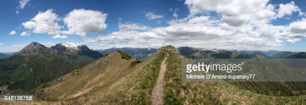 On the summit ridge in the Italian Alps
