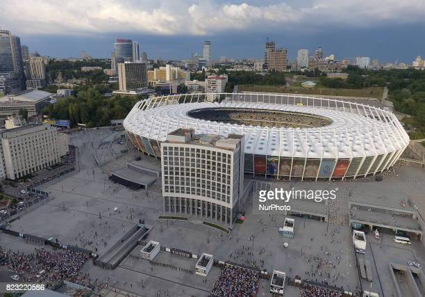 On this aerial photo the view of the Olympic National Stadium before the match of the third qualifying round of the Champions League between the...