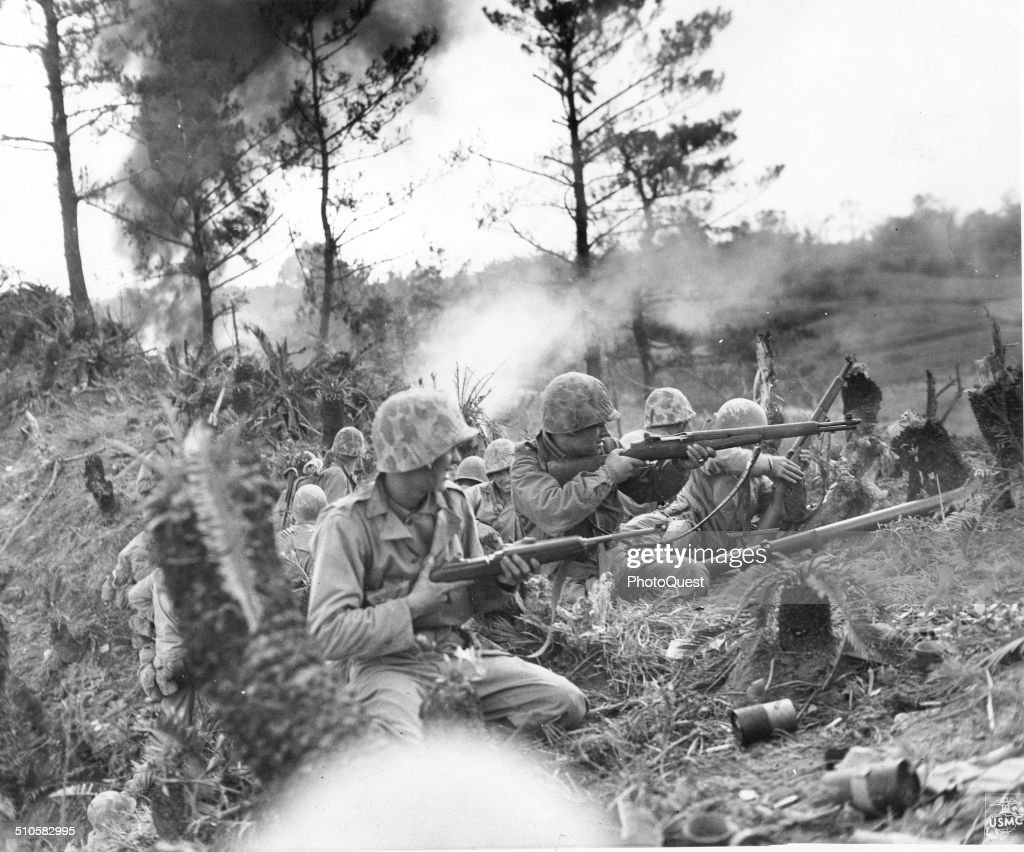 On this ridge two miles north of the city of Naha Marines battled a strong enemy force for 48 hours before the position was captured Okinawa Japan...
