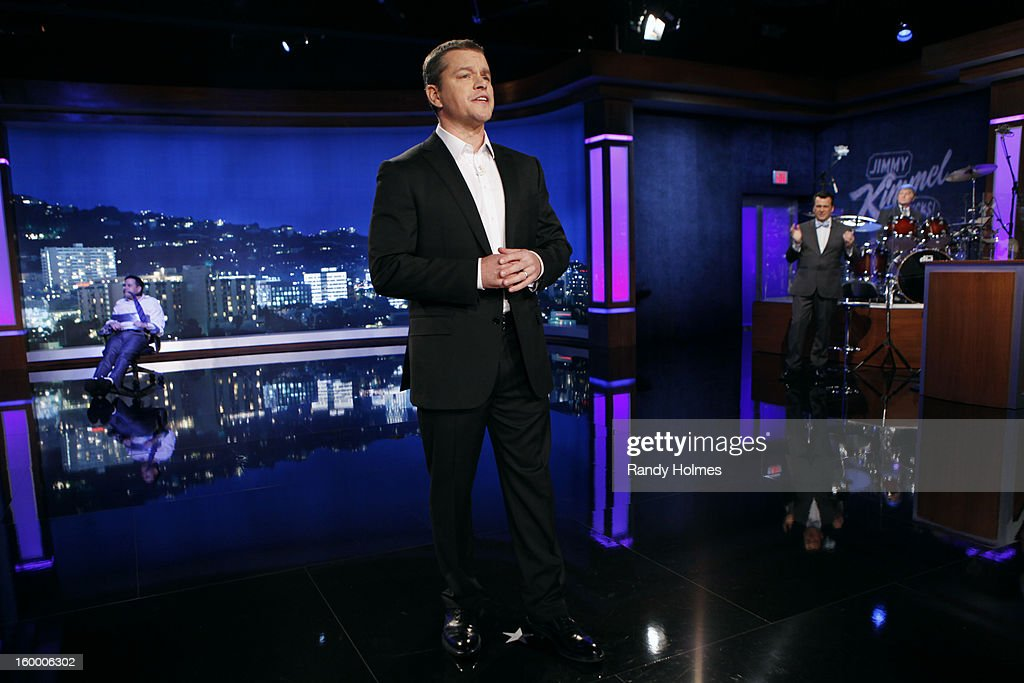 LIVE -On Thursday January 24th, Oscar winner Matt Damon exacted his revenge following a decade of torture by hijacking Kimmel's late night show and renaming it 'Jimmy Kimmel Sucks.' Damon showed Kimmel how it's done by packing his one-evening-only late night turn with comedy and a cavalcade of A-list stars. Damon replaced Kimmel's longtime sidekick Guillermo with legendary actor Andy Garcia, his best childhood friend and bandleader Cleto with multi-Grammy winner Sheryl Crow, and packed his couch with such Hollywood notables as Nicole Kidman, Gary Oldman, Amy Adams, Reese Witherspoon and Demi Moore. Plus special guest appearances by comedians Robin Williams and Sarah Silverman. Even Ben Affleck stopped by to participate in the big night, though his allegiance was torn between childhood friend Damon and former paramour Kimmel. 'Jimmy Kimmel Live!' airs weeknights at 11:35/10:35c on ABC. JIMMY