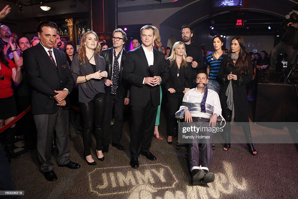 LIVE - On Thursday January 24th, Oscar winner Matt Damon exacted his revenge following a decade of torture by hijacking Kimmel's late night show and renaming it 'Jimmy Kimmel Sucks.' Damon showed Kimmel how it's done by packing his one-evening-only late night turn with comedy and a cavalcade of A-list stars. Damon replaced Kimmel's longtime sidekick Guillermo with legendary actor Andy Garcia, his best childhood friend and bandleader Cleto with multi-Grammy winner Sheryl Crow, and packed his couch with such Hollywood notables as Nicole Kidman, Gary Oldman, Amy Adams, Reese Witherspoon and Demi Moore. Plus special guest appearances by comedians Robin Williams and Sarah Silverman. Even Ben Affleck stopped by to participate in the big night, though his allegiance was torn between childhood friend Damon and former paramour Kimmel. 'Jimmy Kimmel Live!' airs weeknights at 11:35/10:35c on ABC. ANDY