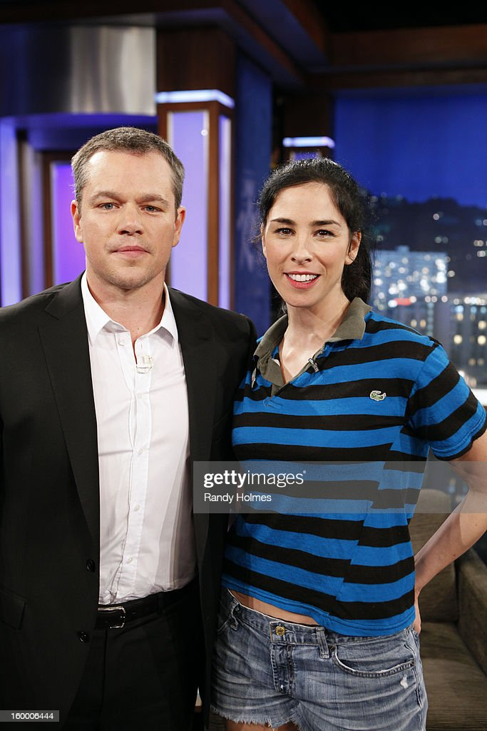 LIVE - On Thursday January 24th, Oscar winner Matt Damon exacted his revenge following a decade of torture by hijacking Kimmel's late night show and renaming it 'Jimmy Kimmel Sucks.' Damon showed Kimmel how it's done by packing his one-evening-only late night turn with comedy and a cavalcade of A-list stars. Damon replaced Kimmel's longtime sidekick Guillermo with legendary actor Andy Garcia, his best childhood friend and bandleader Cleto with multi-Grammy winner Sheryl Crow, and packed his couch with such Hollywood notables as Nicole Kidman, Gary Oldman, Amy Adams, Reese Witherspoon and Demi Moore. Plus special guest appearances by comedians Robin Williams and Sarah Silverman. Even Ben Affleck stopped by to participate in the big night, though his allegiance was torn between childhood friend Damon and former paramour Kimmel. 'Jimmy Kimmel Live!' airs weeknights at 11:35/10:35c on ABC. SILVERMAN