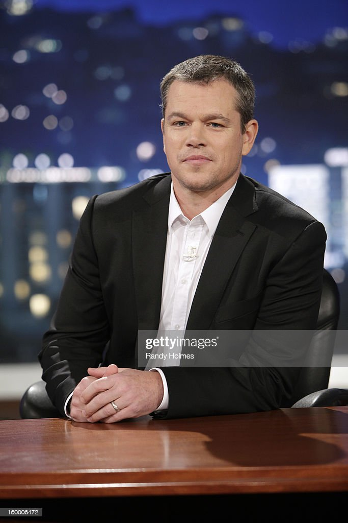 LIVE - On Thursday January 24th, Oscar winner Matt Damon exacted his revenge following a decade of torture by hijacking Kimmel's late night show and renaming it 'Jimmy Kimmel Sucks.' Damon showed Kimmel how it's done by packing his one-evening-only late night turn with comedy and a cavalcade of A-list stars. Damon replaced Kimmel's longtime sidekick Guillermo with legendary actor Andy Garcia, his best childhood friend and bandleader Cleto with multi-Grammy winner Sheryl Crow, and packed his couch with such Hollywood notables as Nicole Kidman, Gary Oldman, Amy Adams, Reese Witherspoon and Demi Moore. Plus special guest appearances by comedians Robin Williams and Sarah Silverman. Even Ben Affleck stopped by to participate in the big night, though his allegiance was torn between childhood friend Damon and former paramour Kimmel. 'Jimmy Kimmel Live!' airs weeknights at 11:35/10:35c on ABC. (Photo by Randy Holmes/ABC via Getty Images)MATT