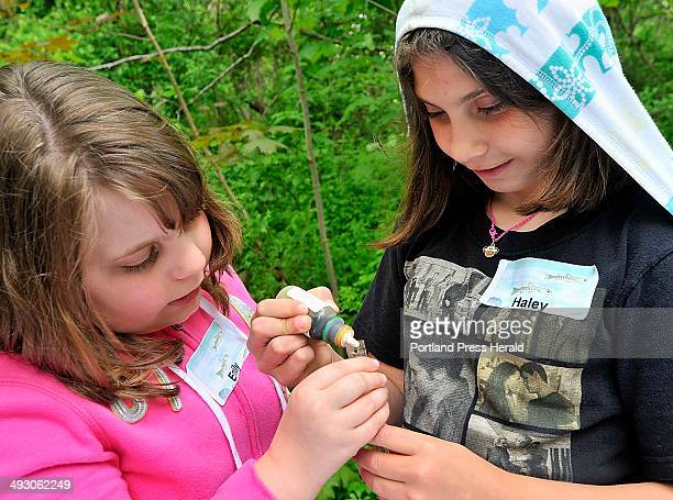 On Thursday May 23 Emily Liotard left and Haley Arsenault prepare a test tube of brook water to test the acidity as the Portland Water District holds...