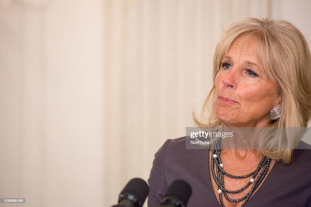 On Thursday, May 5 in The State Dining Room of The White House, Dr. <a gi-track='captionPersonalityLinkClicked' href=/galleries/search?phrase=Jill+Biden&family=editorial&specificpeople=997040 ng-click='$event.stopPropagation()'>Jill Biden</a> speaks at the Joining Forces 5th Anniversary event.