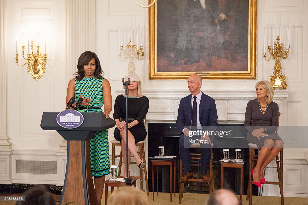 On Thursday, May 5 in The State Dining Room of The White House, speakers from l-r, l-r, First Lady <a gi-track='captionPersonalityLinkClicked' href=/galleries/search?phrase=Michelle+Obama&family=editorial&specificpeople=2528864 ng-click='$event.stopPropagation()'>Michelle Obama</a>, Kathleen Carroll - US Marine Corps veteran, Military Spouse and current Amazon employee, Jeff Bezos - CEO Amazon, and Dr. Jill Biden at the Joining Forces 5th Anniversary event.