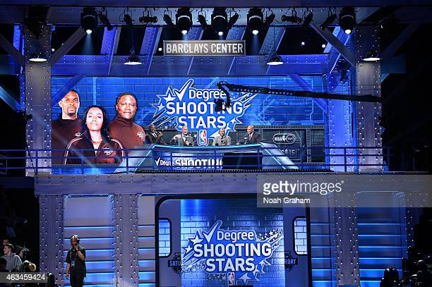 NBA on TNT hosts Shaquille O'Neal Ernie Johnson Kenny Smith and Charles Barkley analyze the Degree Shooting Stars Contest on State Farm AllStar...