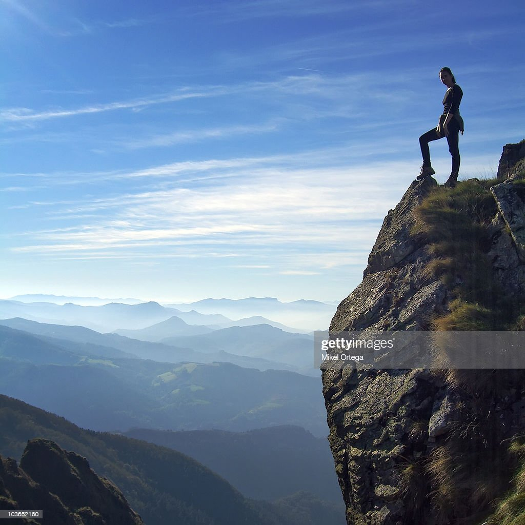 On top of the mountain : Stock Photo