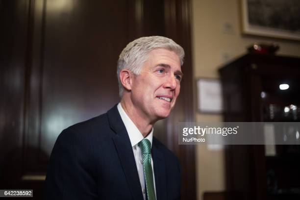 On Tuesday February 14 Neil Gorsuch Supreme Court Justice nominee attends meetings on Capitol Hill