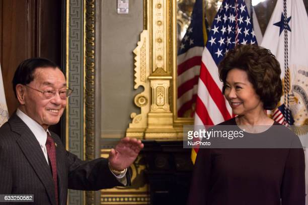 On Tuesday January 31 Elaine Chao and her father James Chao enter for her swearing in as the Transportation Secretary in the Vice Presidents...