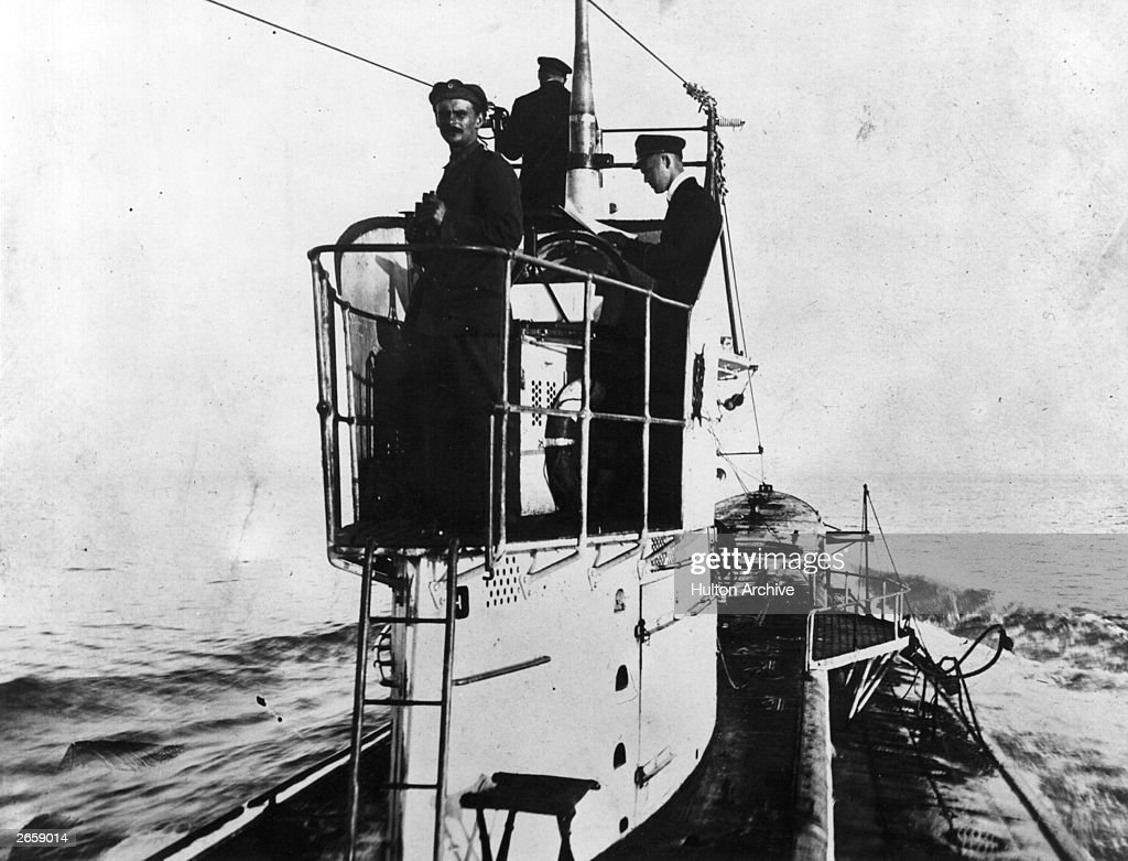 On watch on the conningtower of a UBoat on surface patrol