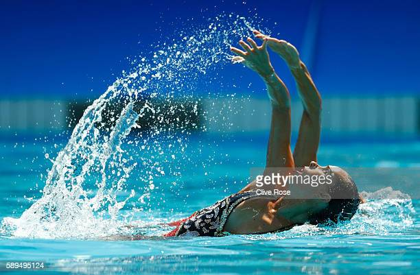 Ona Carbonell Ballestero and Gemma Mengual Civil of Spain compete in the Women's Duets Synchronised Swimming Free Routine Preliminary Round on Day 9...