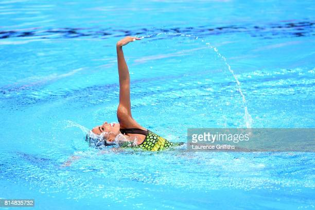 Ona Carbonell of Spain competes during the Womens Synchro Solo Technical final on day two of the Budapest 2017 FINA World Championships on July 15...