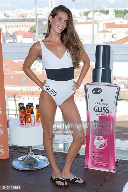 Ona Carbonell presents the new Schwarzkopf Gliss Oil Shampoo at Room Mate Oscar Hotel on June 15 2016 in Madrid Spain