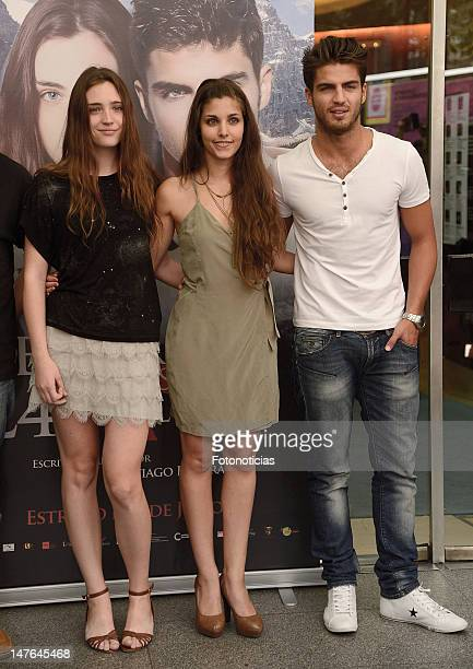 Ona Casamiquela Aida Flix and Maxi Iglesias attend a photocall for 'El Secreto de los 24 Escalones' at the Palafox Cinema on July 2 2012 in Madrid...
