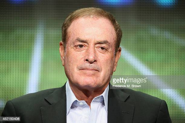 Onair talent Al Michaels speaks onstage at the 'Sunday Night Football' panel during the NBCUniversal NBC Sports portion of the 2014 Summer Television...