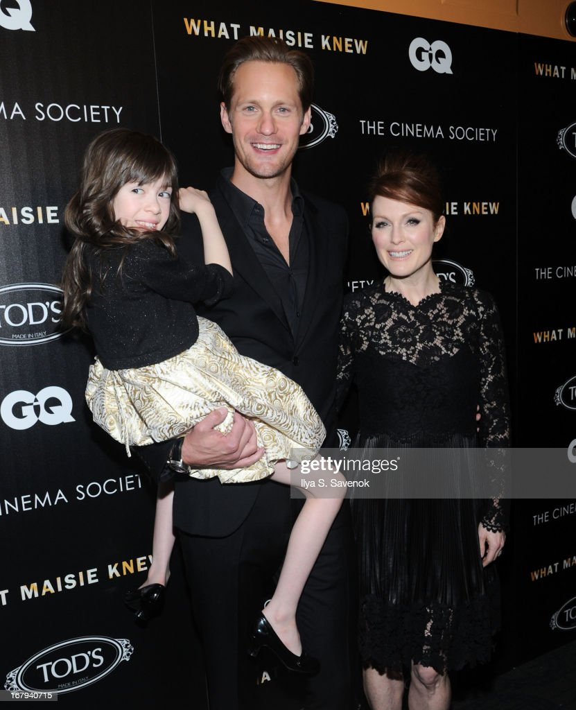 Onata Aprile, Alexander Skarsgard and Julianne Moore attend The Cinema Society with Tod's & GQ screening of Millennium Entertainment's 'What Maisie Knew' at Landmark Sunshine Cinema on May 2, 2013 in New York City.