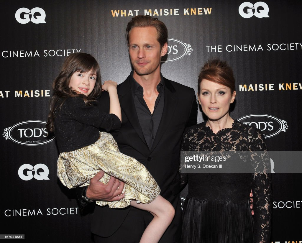 Onata Aprile, Alexander Skarsgard and <a gi-track='captionPersonalityLinkClicked' href=/galleries/search?phrase=Julianne+Moore&family=editorial&specificpeople=171555 ng-click='$event.stopPropagation()'>Julianne Moore</a> attend The Cinema Society with Tod's & GQ screening of Millennium Entertainment's 'What Maisie Knew' at Sunshine Landmark on May 2, 2013 in New York City.