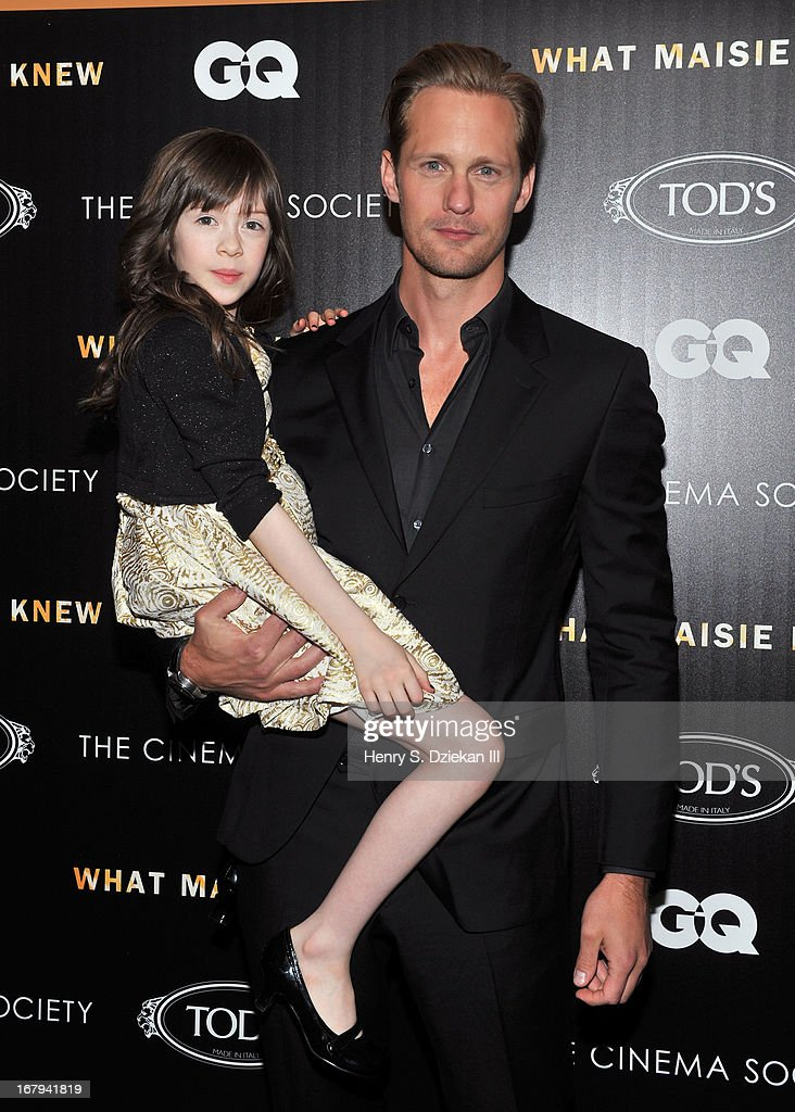 Onata Aprile and Alexander Skarsgard attend The Cinema Society with Tod's & GQ screening of Millennium Entertainment's 'What Maisie Knew' at Sunshine Landmark on May 2, 2013 in New York City.