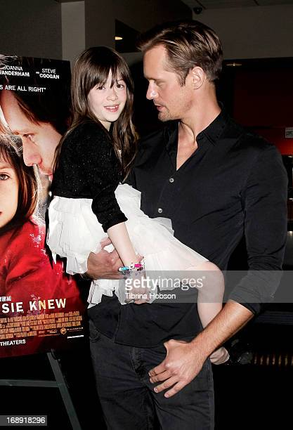 Onata Aprile and Alexander Skarsgard attend the LA Times Indie Focus screening of 'What Masie Knew' at Laemmle Theater on May 16 2013 in North...