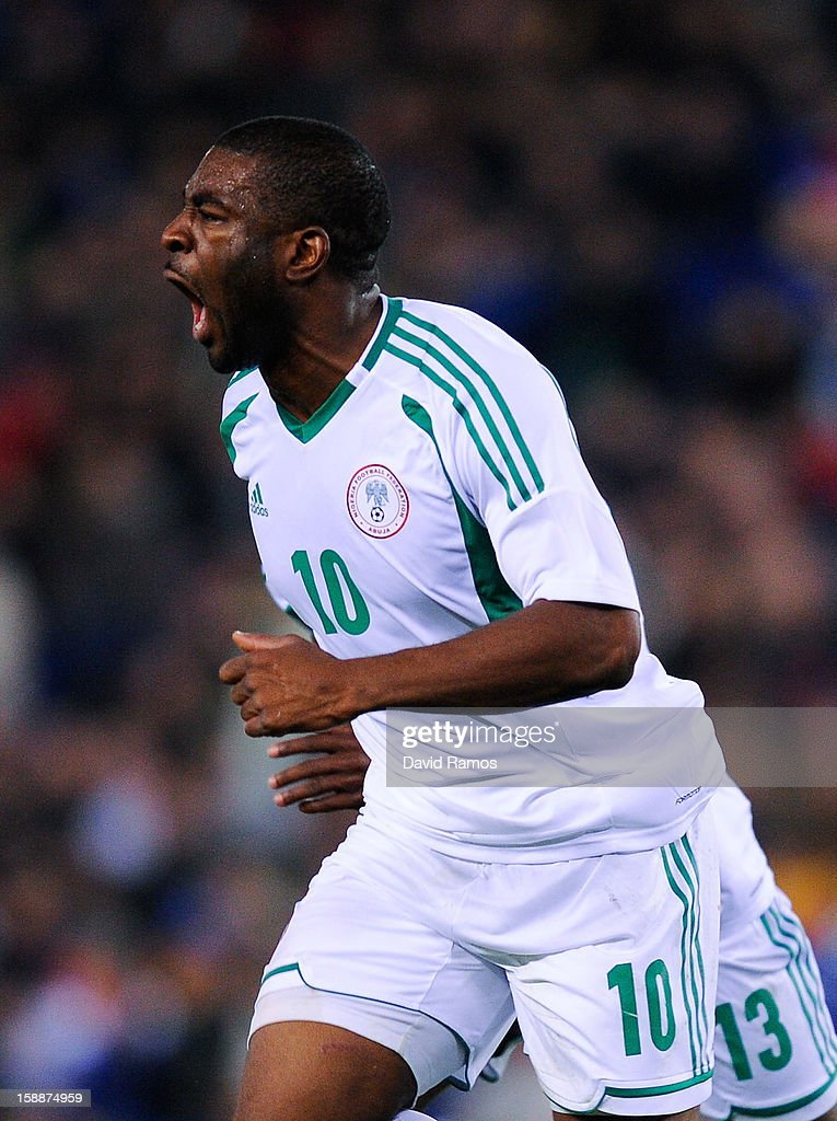 Onazi Ogenyi of Nigeria celebrates after scoring his team's first goal during a friendly match between Catalonia and Nigeria at Cornella-El Prat Stadium on January 2, 2013 in Barcelona, Spain.