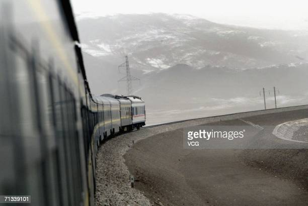 Onboard a train during a trial run of the 1956kilometerlong QinghaiTibet railway linking Xining capital of Qinghai Province with Lhasa capital of...