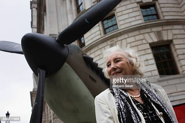 Once the wartime armed forces sweetheart Dame Vera Lynn makes an appearance near a replica Spitfire fighter plane at the 70th anniversary of WW2...