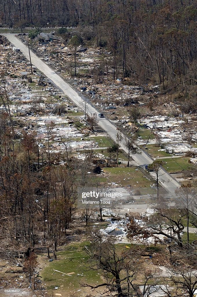 A once thriving middle class neighborhood is shown in ruins destroyed by Hurricane Katrina September 9 2005 in Waveland Mississippi Damage from the...