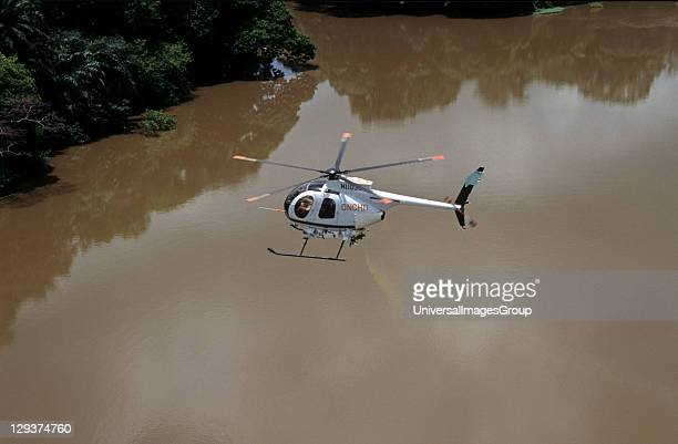 Onchoceriasis Ivory Coast Ngolodougou River Helicopter Spraying Larvicide To Kill Blackfly Larva The Vector For River Blindness Or Onchoceriasis
