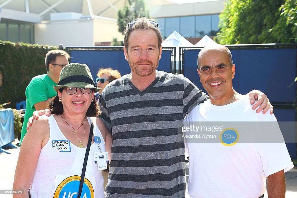 Oncologist Dr. Lauren Pinter-Brown, actor Bryan Cranston, and On Track for a Cure co-chairman Robert Flutie at UCLA's Lymphoma Program 'A Celebration Of Survivorship - On Track For A Cure' held at UCLA's Drake Stadium on October 7, 2012 in Westwood, California.