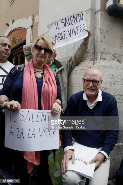 Oncologist Giuseppe Serravezza at Montecitorio Square in front of Parliament for a peaceful protest against the Tap pipeline on May 11 2017 in Rome...