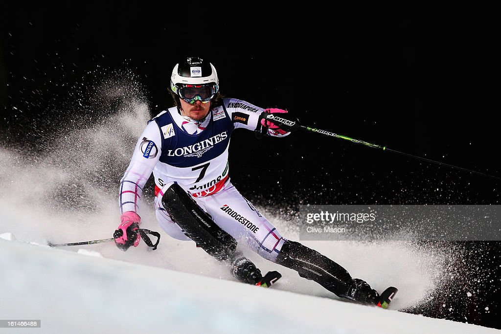 Ondrej Bank of the Czech Republic skis in the slalom section of the Men's Super Combined during the Alpine FIS Ski World Championships on February 11, 2013 in Schladming, Austria.