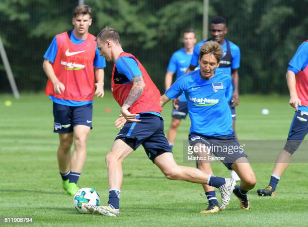 Ondrej Duda and Genki Haraguchi of Hertha BSC during a training camp on July 10 2017 in Bad Saarow Germany